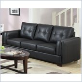 Coaster Sawyer Contemporary Leather Double Arm Sofa in Black