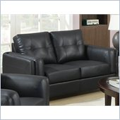 Coaster Sawyer Contemporary Leather Loveseat in Black