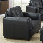 Coaster Sawyer Contemporary Leather Double Arm Chair in Black