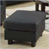 Coaster Sawyer Contemporary Leather Rectangular Ottoman in Black