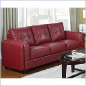 Coaster Sawyer Contemporary Leather Double Arm Sofa in Red