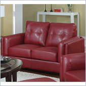 Coaster Sawyer Contemporary Leather Loveseat in Red