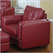 Coaster Sawyer Contemporary Leather Double Arm Chair in Red