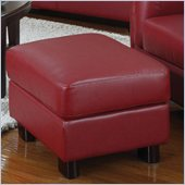 Coaster Sawyer Contemporary Leather Rectangular Ottoman in Red