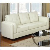 Coaster Sawyer Contemporary Leather Double Arm Sofa in Cream