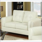 Coaster Sawyer Contemporary Leather Loveseat in Cream