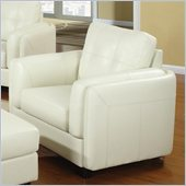 Coaster Sawyer Contemporary Leather Double Arm Chair in Cream