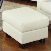 Coaster Sawyer Contemporary Leather Rectangular Ottoman in Cream