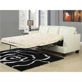 Coaster Samuel Bonded Leather Sleeper Sofa in Cream