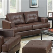 Coaster Samuel Leather Attached Seat Cushions Loveseat in Dark Brown