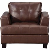 Coaster Samuel Leather Attached Seat Cushion Chair in Dark Brown