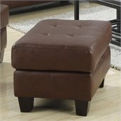 Coaster Samuel Leather Ottoman with Cushioned Top in Dark Brown