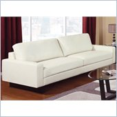 Coaster Ava Contemporary Leather Sofa with Platform Legs in Cream