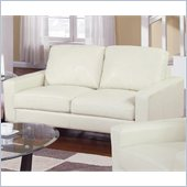Coaster Ava Contemporary Leather Loveseat with Platform Legs in Cream