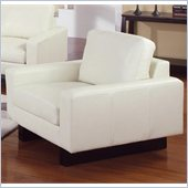 Coaster Ava Contemporary Leather Chair with Platform Legs in Cream