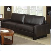 Coaster Ava Contemporary Leather Sofa with Platform Legs in Brown