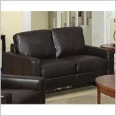 Coaster Ava Contemporary Leather Loveseat with Platform Legs in Brown