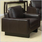 Coaster Ava Contemporary Leather Chair with Platform Legs in Brown