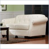 Coaster Kristyna Bonded Leather Button Tufted Loveseat in White