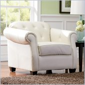 Coaster Kristyna Bonded Leather Upholstered Chair in Off White
