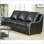 Coaster Myles Bonded Leather Sofa in Black