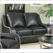 Coaster Myles Bonded Leather Love Seat in Black