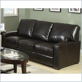 Coaster Kelsey Bonded Leather Stationary Sofa in Rich Brown