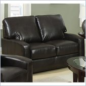 Coaster Kelsey Bonded Leather Love Seat in Rich Brown