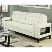 Coaster Paige Leather Sofa with Cutout Arms in Cream