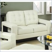Coaster Paige Leather Love Seat with Cutout Arms in Cream