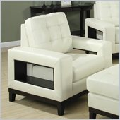 Coaster Paige Leather Club Chair with Cutout Arms in Cream