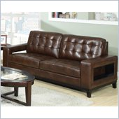 Coaster Paige Leather Sofa with Cutout Arms in Brown
