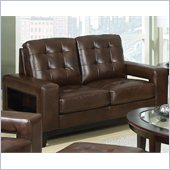 Coaster Paige Leather Love Seat with Cutout Arms in Brown
