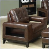 Coaster Paige Leather Club Chair with Cutout Arms in Brown