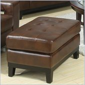 Coaster Paige Leather Ottoman in Brown