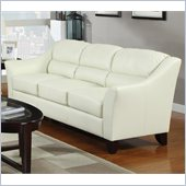 Coaster Brooklyn Casual Contemporary Leather Sofa in Ivory