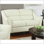 Coaster Brooklyn Casual Contemporary Leather Love Seat in Ivory
