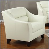 Coaster Brooklyn Casual Contemporary Leather Club Chair in Ivory