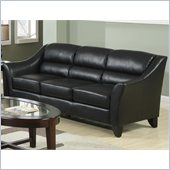 Coaster Brooklyn Casual Contemporary Leather Sofa in Black
