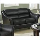 Coaster Brooklyn Casual Contemporary Leather Love Seat in Black