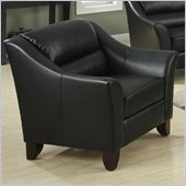 Coaster Brooklyn Casual Contemporary Leather Club Chair in Black
