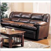 Coaster Harper Overstuffed Leather Sofa with Pillow Arms in Rich Brown