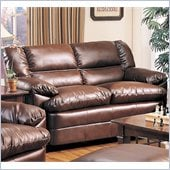 Coaster Harper Overstuffed Leather Love Seat in Rich Brown