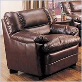 Coaster Harper Overstuffed Leather Club Chair in Rich Brown