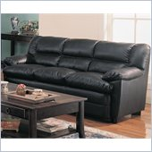 Coaster Harper Overstuffed Leather Sofa with Pillow Arms in Black