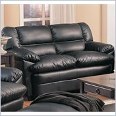 Coaster Harper Overstuffed Leather Love Seat in Black