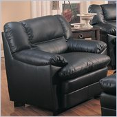 Coaster Harper Overstuffed Leather Club Chair in Black