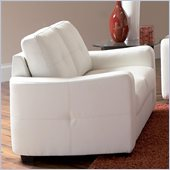 Coaster Jasmine Leather Love Seat in White