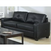 Coaster Jasmine Leather Sofa in Black
