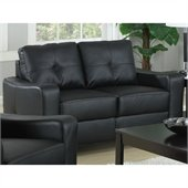 Coaster Jasmine Leather Love Seat in Black